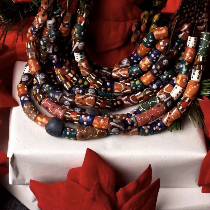 Leather & glass bead necklace. Mali