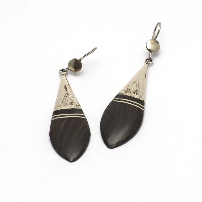 Ebony and silver earrings