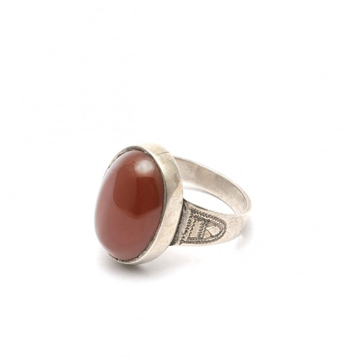 Silver and Agate Ring