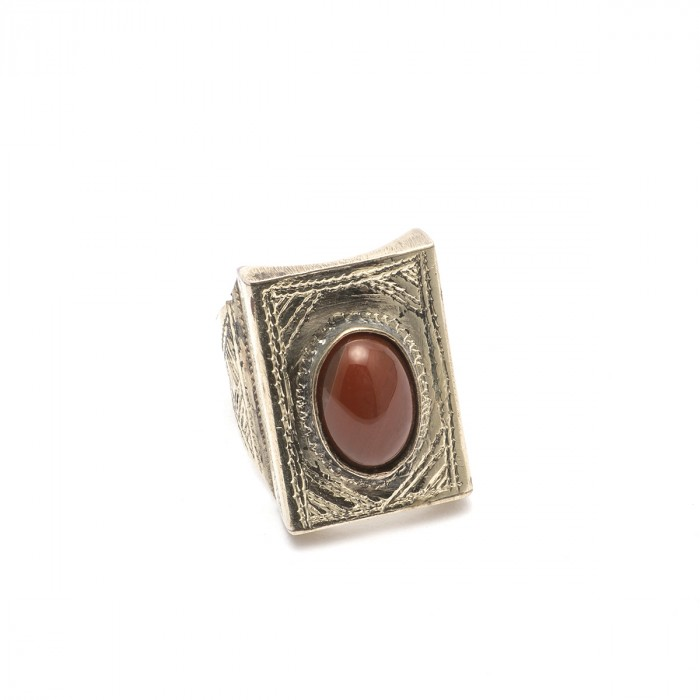 Tuareg brass and agate Ring