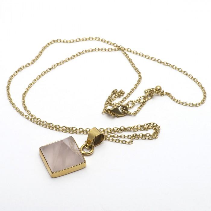 Rose quartz pyramid pendant & necklace