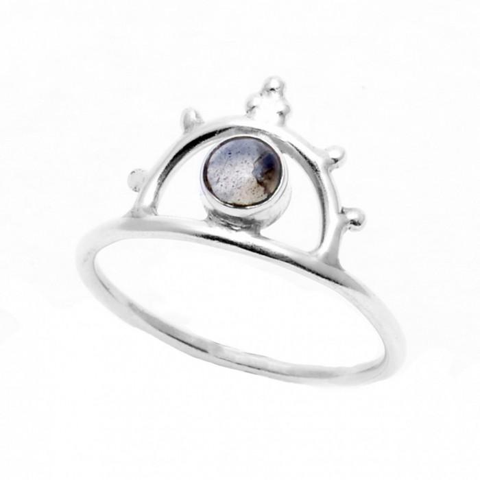 Silver ring with semi precious stone