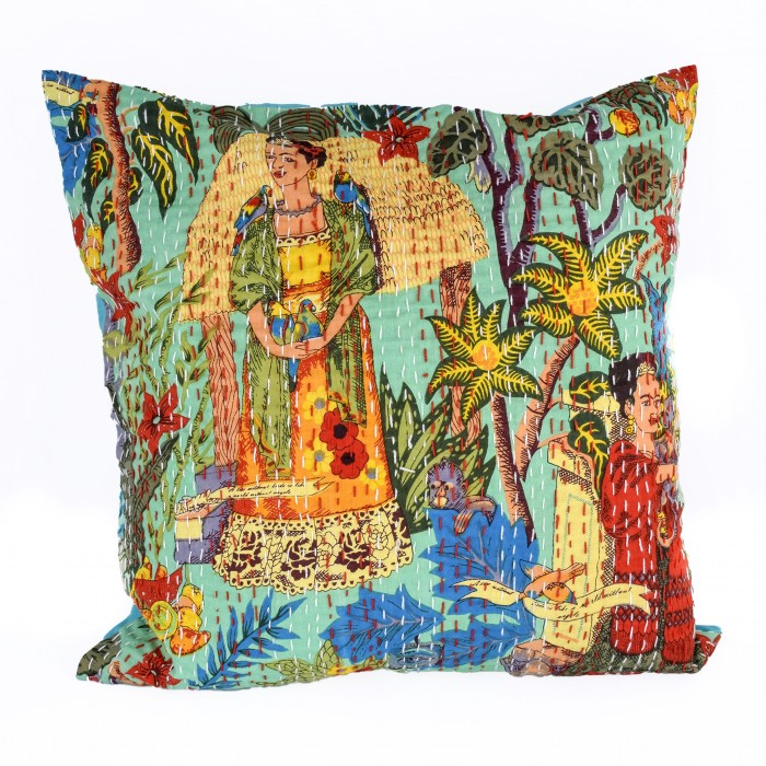 Frida's Garden Cushion Cover- Teal