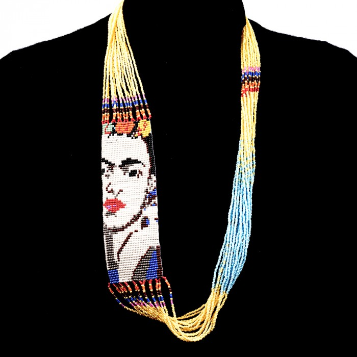Yellow Beaded Frida Necklace