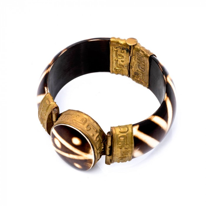 Batik bone & brass Bracelet