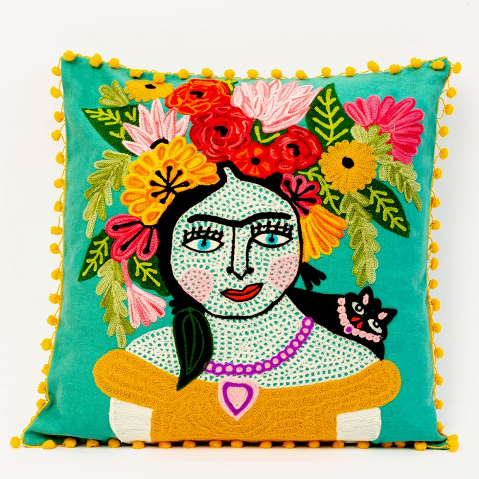 Teal Frida Kahlo Cushion