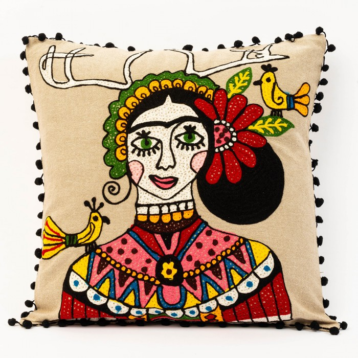 Beige Frida Kahlo Cushion