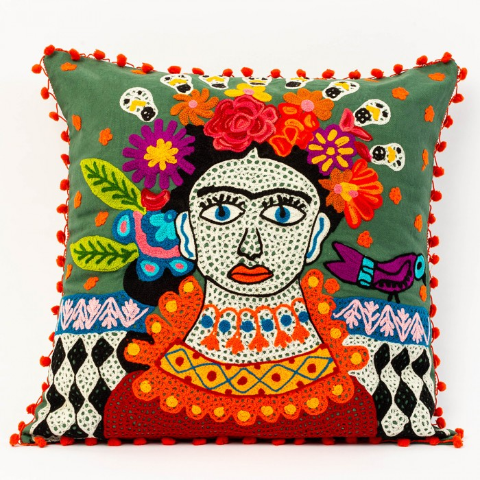 Forest Green Frida Kahlo cushion