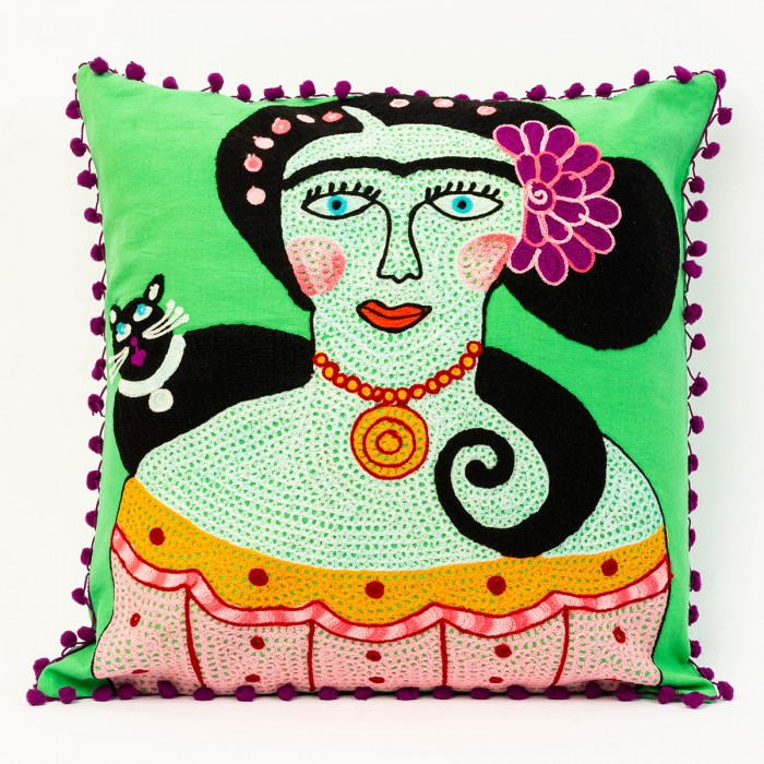 Lime Frida Kalho cushion
