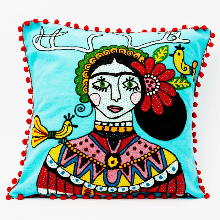 Blue Frida Kalho Cushion