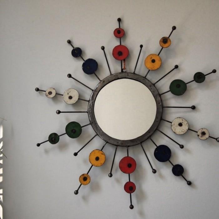 Re cycled metal sun mirror
