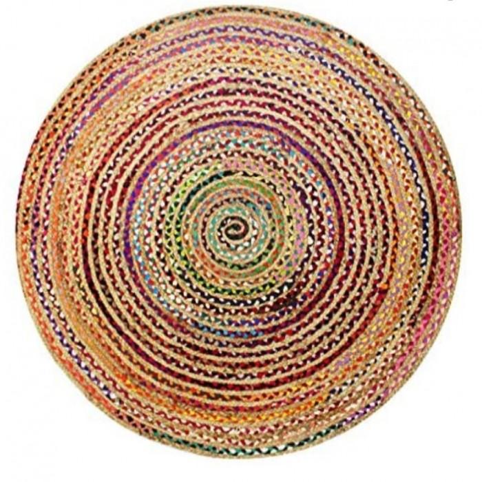 Plaited Cotton & Jute Rug 70cm
