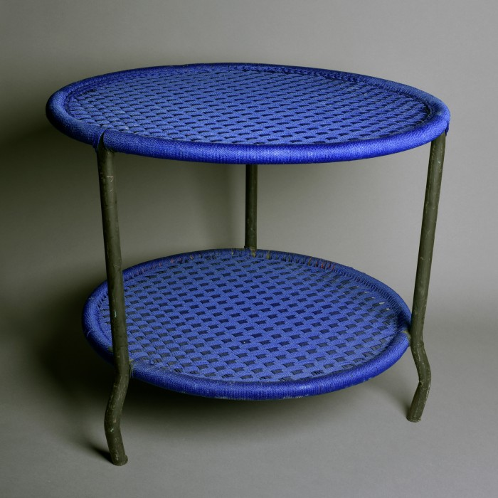 Blue round table